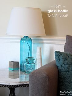 How to make a DIY lamp from a glass bottle or vase