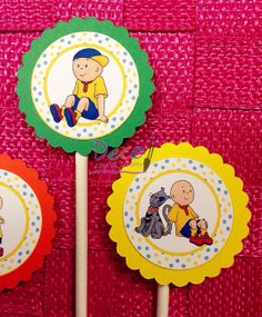 Caillou  Cupcake Toppers  12 Readytoship by DecoArtsandCrafts, $8.99