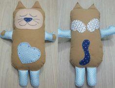 Naninha Baby Gatinho, feltro, rostinho bordado, todo costurado a mão,  com 30cm -  R$ 45,00