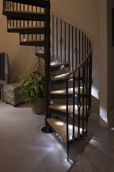 homedecor stairs I will live in a house with a spiral staircase at some point in my life Loft Mezzanine, Loft Staircase, Staircase Makeover, Modern Staircase, House Stairs, Stair Railing, Diy Stair, Spiral Staircases, Attic Stairs