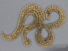 Strass decoratie opstrijkbaar 116x72mm goud