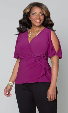 Curvalicious Clothes :: Plus Size Tops :: Wanderlust Wrap Top - Orchid
