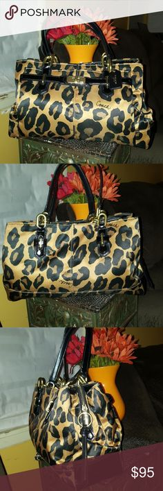 Authentic Coach Chelsea Authentic Coach leopard Chelsea Ocelot print Jayden carry-all stern fabric with patent leather leather trim.. same bag sell it on eBay for 174 .99 Coach Bags Shoulder Bags