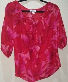 1375c48e523 Ann Taylor Loft Red Pink Floral Semi Sheer Ruffled Top Blouse Size Small EUC   AnnTaylorLOFT