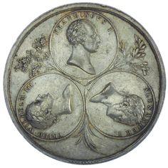 Kaiserreich Österreich, Franz I. 1804/06 - 1835 AR Medaille 1814, auf die Siegermächte des Wr. Kongresses Silber Med: v. Stuckhart