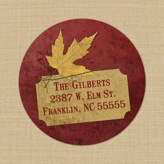 Red and Golden Maple  Custom Address Labels or by PoshGirlBoutique, $5.50