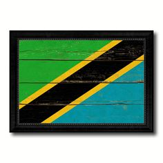 Tanzania Country Flag Vintage Canvas Print with Black Picture Frame Home Decor Gifts Wall Art Decoration Artwork