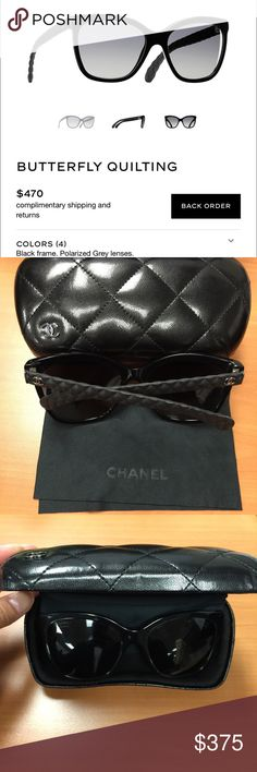 Classic black Chanel butterfly quilt sunglasses Very minimally worn black polarized Chanel sunglasses. I loved the shape and size but tended to fall down my nose because I don't have a high arch. Still think it's the most classic shape that will never go out of style. Bought at Bloomingdales in Los Angeles. Comes with case and dust cloth. Still $470 on Chanel website. CHANEL Accessories Sunglasses