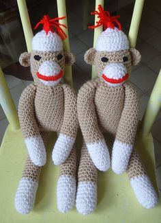 Omg! Free patterns for Sock Monkey and Baby Hat! By Linda Cyr at Red Heart; pic from Ravelry Project Gallery. . . . . ღTrish W ~ http://www.pinterest.com/trishw/ . . . . #crochet #toy #softie #plushie