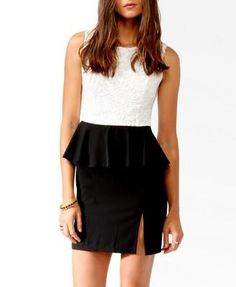 Forever 21 Textured Lace Peplum Dress, $22.80