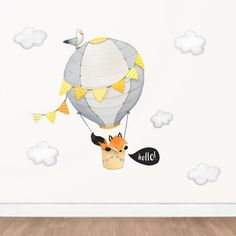 Hello Fox Hot Air Balloon Wall Decal, Yellow and Grey Watercolor Decal | Kids Animal Decal | Nursery Playroom Decor Wall Sticker | Removable