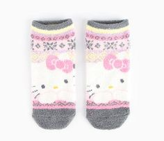 Hello Kitty Adult Low Cut Socks: Grey - Item # 98403-201404 - Your feet will love these low cut sleep socks displaying Hello Kitty's image and geometric patterns. Soft, fuzzy and warm, the socks come in one size which fits most adults and juniors. - $5.50