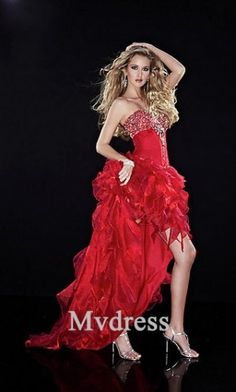 prom dress#Red Dress# Dropped# A-Line Dress