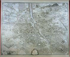 "That is gorgeous!  ""In 1734 the Prévôt des Marchands and president of the Paris Parlement Michel Etienne Turgot, Marquis de Sousmont (1690-1751), commissioned the draughtsman and cartographer Louis Bretez to produce a bird's eye plan of Paris. The project had the assent of King Louis XV, and the contract of 13 January 1734 stipulates its principal aim was to 'satisfaire la curiosité du Roy, et des Etrangers'."""