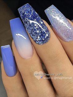 Cute purple ombre nail, purple nail, and glitter nails set! - Cute purple ombre nail, purple nail, and glitter nails set! Purple Ombre Nails, Purple Acrylic Nails, Best Acrylic Nails, Blue Nails, Acrylic Nail Set, Purple Nail Art, Purple Nail Designs, Cute Acrylic Nail Designs, Nail Art Designs