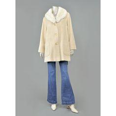 Vintage Rabbit Fur Collar Coat - Cream Wool Coat - 60s 70s Coat - Off White Womens Winter Jacket - Oversize Coat - 1960s 1970s Coat - Cocoon Coat - Swing Coat ( M/L Medium - Large)  #vintage #etsy #womens #clothing #outerwear #coats #jackets #fashion #style