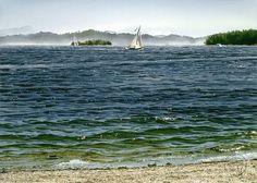 """Sailboats off Beddis Beach"" watercolor painting by artist Carol Evans. Watercolor Ocean, Watercolor Landscape, Watercolor Paper, Watercolor Paintings, Watercolors, Watercolor Artists, Landscape Art, Evans Art, Water Images"