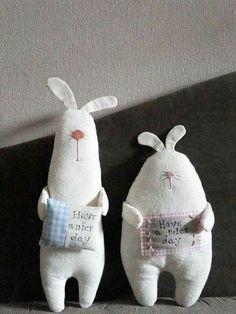 a pair of handmade rabbit dolls / soft sculpture Felt Crafts, Easter Crafts, Fabric Crafts, Kids Crafts, Sewing Crafts, Sewing Projects, Softies, Fabric Toys, Sewing Dolls