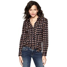 GAP The Fitted Boyfriend Popover Printed   $49.95 - 5 Faves for Fall on InStyle