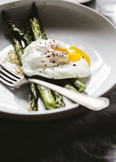 Roasted Asparagus with Miso Butter and a Poached Egg
