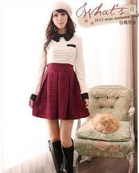 Red&White&Black Combined Winter Style Dress with Houndstooth Skirt and Collar