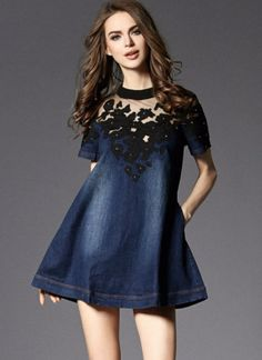 Mesh Embroidery Denim Dress Patchwork Loose A-line Summer Dress Mini Dress Jean Women Short Sleeve Casual S- Vestidos. Product ID: Denim Short Dresses, Casual Summer Dresses, Mini Dresses, Dresses 2016, Summer Clothes, Dresses Online, Denim And Lace, Blue Denim, New Mode
