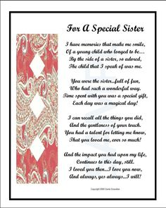 For A Special Sister, INSTANT DIGITAL DOWNLOAD, Poem Is Sent To Your Email, Sister Poem, Sister Verse, Sister Gift, Sister Print, Sister