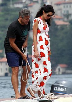 George Clooney and girlfriend Amal Alamuddin seen enjoying some down time on Lake Como in Italy
