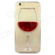 Rode Wijn Glas patroon beschermende TPU Back Case voor iPhone 6 - Rood + Transparant