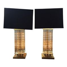 Image of Lightolier Glass Rod Table Lamps - A Pair
