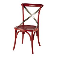 Rattan and metal chair in red - Tradition