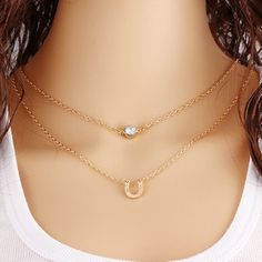 Crystal U-shaped Layer Necklace