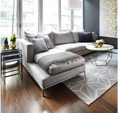 Oak floors with grey colour furniture and walls......AMAZING