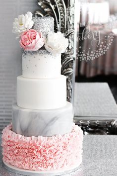 Chic Pink Ruffle and Silver Sequin Wedding Cake! Chic pink ruffle wedding cake by Juniper Cakery Wedding Cake Fresh Flowers, Floral Wedding Cakes, Elegant Wedding Cakes, Wedding Cake Designs, Wedding Cake Toppers, Elegant Cakes, Floral Cake, Wedding Cupcakes, Pink And Grey Wedding Cake