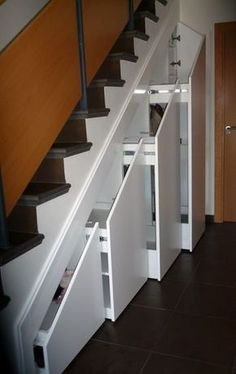 30 Beautiful Metal Stairs Ideas In 2019 Have some weak cellar stairs? Read our overview to find out how to replace cellar stairways and make your residence a little bit safer. Space Under Stairs, Under Stairs Cupboard, Home Stairs Design, House Design, Under Stairs Storage Solutions, Stairway Storage, Metal Stairs, House Stairs, Basement Stairs