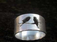 Birds on a Branch Sterling Ring by donnaodesigns. $69.95, via Etsy.