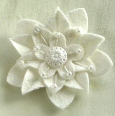 White on White Felt Flower Pin with Fancy White by dorothydesigns