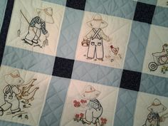 Baby quilt for boys handembroidered and handquilted by artsyEVE