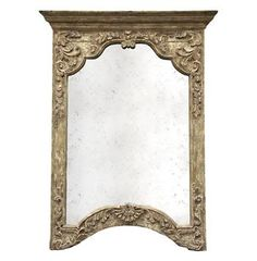 Saxony French Provencal Antique Carved Pedestal Arched Mirror- Large