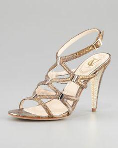 "Another nice ""Alisa"" type...X1MWP VC Signature Vogue Metallic Snake-Print Sandal"