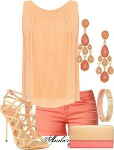 In this outfit the colors peach & coral just make the the whole piece come together.