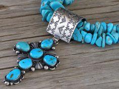 Delbert Gordon Morenci Turquoise Cross Pendant and Necklace