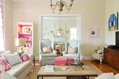 House Crashing: A Happy Casual Farm House | Young House Love. Love the pops of pink done in the coolest way.