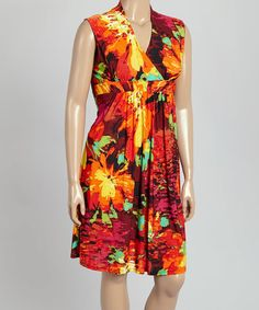 Loving this Coral & Yellow Floral Surplice Dress - Plus on #zulily! #zulilyfinds