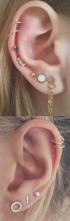 Delicate Multiple Ear Piercing Ideas Combinations - Double Cartilage Gold Ring Hoops - Simple Triple Earring Lobe Studs - MyBodiArt.com #Earrings