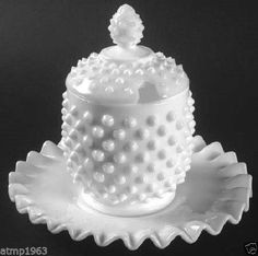 "FENTON Milk Glass Hobnail 6 1/2"" Tall Jam Jar with Underplate $39.99"