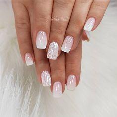 Wedding Nails Wedding Nails: Beautiful and Elegant Nail Designs - Elegant Nails White Tip Nail Designs, Elegant Nail Designs, Elegant Nails, Nail Art Designs, Beauty Elegant, White Tip Nails, Pink Nails, My Nails, Gradient Nails
