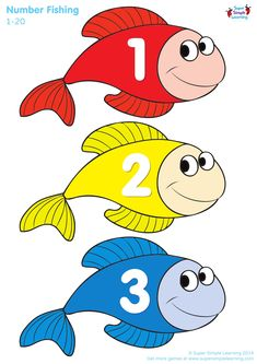 Learning Numbers from 1 to 20 Fish Fish Activities, Fun Activities For Toddlers, Gross Motor Activities, Letter Activities, Preschool Charts, Numbers Preschool, Learning Numbers, Uppercase Alphabet, Alphabet Worksheets