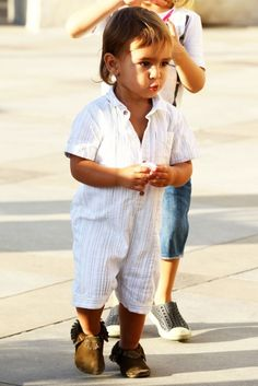 Janie and Jack romper and Freshly Picked moccasins ---Classic Mason Disick