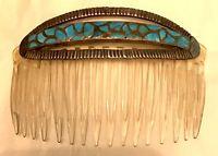 Rare Zuni Alice Leekya Homer Hair Ornament Comb Turquoise early to mid-Century